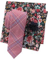 Original Penguin - Lindahl Plaid Tie, Pocket Square, & Lapel Pin Set - Lyst