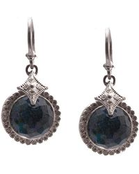 Armenta - New World Sterling Silver Faceted Opal & White Quartz Doublet Pave Diamond Halo Drop Earrings - Lyst