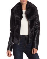 Guess - Faux Fur Faux Leather Jacket - Lyst