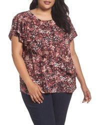 Sejour - Woven Ruffle Tee (plus Size) - Lyst