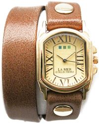 La Mer Collections - Women's Double Wrap Genuine Leather Watch, 1 Inch - Lyst