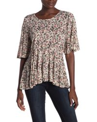 Lucky Brand - Patterned Flutter Sleeve Top - Lyst