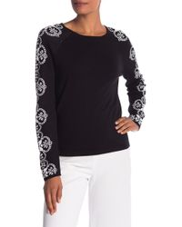 Cece by Cynthia Steffe - Lace Patterned Jacquard Sweater - Lyst