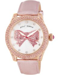 Betsey Johnson - Women's Bowtastic Crystal Leather Watch, 41.5mm - Lyst