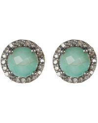 Adornia - Sterling Silver Echo Light Emerald & Diamond Halo Stud Earrings - 0.38 Ctw - Lyst