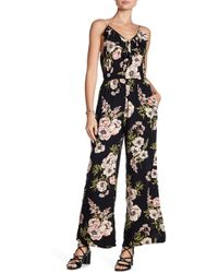 Angie - Floral Ruffle Wide Leg Jumpsuit - Lyst