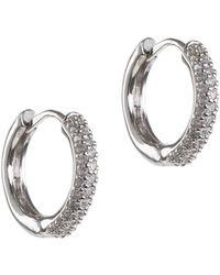 CZ by Kenneth Jay Lane - Cz Accented Mini Hoop Earrings - Lyst