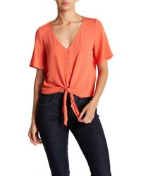 Love, Fire - Tie Front Button Down Tee - Lyst