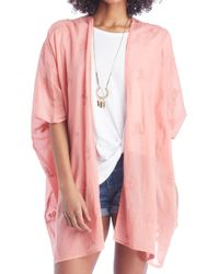 Sole Society - Eyelet Embroidered Kimono - Lyst