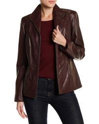 Cole Haan - Lambskin Leather Front Zip Jacket - Lyst