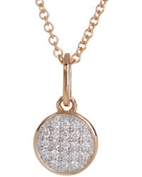 Bony Levy - 18k Two-tone Gold Pave Diamond Circle Pendant Necklace - 0.06 Ctw - Lyst