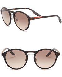 b0cdc88b41a75 Prada - Phantos Polarized 53mm Round Sunglasses - Lyst