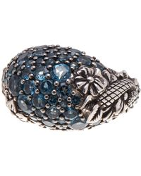 Stephen Dweck - Sterling Silver Pave Blue Topaz Floral Dome Ring - Size 7 - Lyst