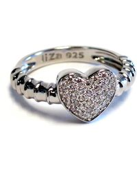 Liza Schwartz - Sterling Silver Pave Cz Touch My Heart Ring - Lyst