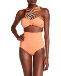 Eco Peace by Aqua Green - Spotlight Strappy Beaded High Neck Bikini Top - Lyst
