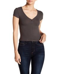 Project Social T - Ribbed Button V-neck Baby Tee - Lyst