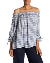 Max Studio - Striped Off-the-shoulder Blouse - Lyst