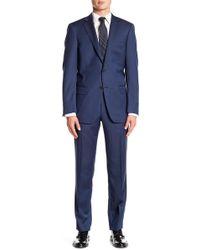 Hart Schaffner Marx - Blue Chevron Notch Lapel Wool New York Fit Suit - Lyst