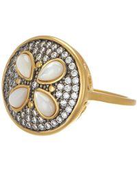 Freida Rothman - 14k Gold & Rhodium Plated Sterling Silver Cz Fleur Bloom Petite Petal Ring - Size 7 - Lyst