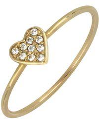Bony Levy - 18k Gold Heart Diamond Pave Ring - 0.04 Ctw - Lyst
