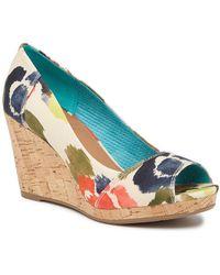 TOMS - Stella Tangerine Watercolor Floral Wedge Heel - Lyst