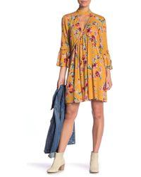 Band Of Gypsies - Bowen Floral Print Cutout Minidress - Lyst