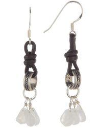 Peyote Bird - Leather Moonstone Drop Earrings - Lyst