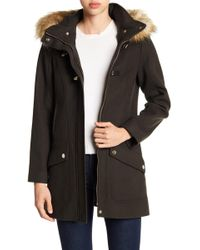 Cece by Cynthia Steffe - Ella Faux Fur Trim Wool Blend Duffle Coat - Lyst