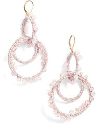 Rebecca Minkoff - Thread Wrapped Interlocking Hoop Earrings - Lyst