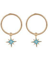 Argento Vivo - 18k Gold Plated Sterling Silver Round Tube Evil Eye Earrings - Lyst
