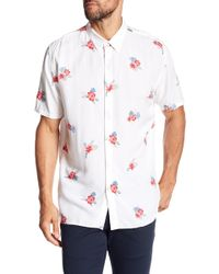 Barney Cools - Holiday Floral Print Short Sleeve Regular Fit Shirt - Lyst