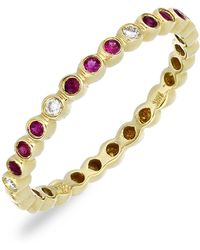 Bony Levy - 18k Yellow Gold Bezel Diamond & Ruby Accented Ring - 0.04 Ctw - Lyst