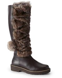Lands' End - Laced Faux Fur Tall Boot - Lyst