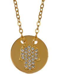 TMRW STUDIO - Gold Plated Pave Crystal Hamsa Round Pendant Necklace - Lyst