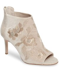 Imagine Vince Camuto - Padget Embroidered Velvet Peeptoe Bootie - Lyst