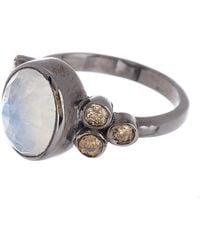 Adornia - Sterling Silver Moonstone & Diamond Ring - Lyst