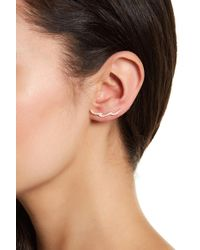 Adornia - Sterling Silver Swarovski Crystal Accented Wave Ear Climber Earrings - Lyst