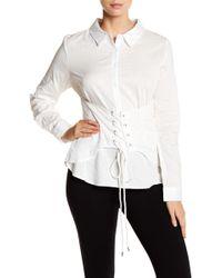 June & Hudson - Shadow Stripe Corset Long Sleeve Shirt - Lyst