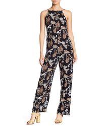 Angie - Floral Print Square Neck Jumpsuit - Lyst