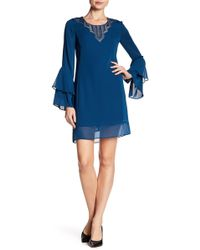 Laundry by Shelli Segal   Lace Trim Bell Sleeve Dress   Lyst