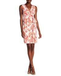 Donna Morgan - Sleeveless Printed Jersey Wrap Dress - Lyst