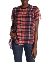 Opening Ceremony - Short Sleeve Plaid Asymmetrical Blouse - Lyst