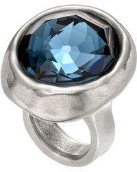 Uno De 50 - Oh My God Round-cut Blue Swarovski Crystal Accented Ring - Lyst