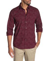 Ike Behar Space Dye Long Sleeve Shirt - Red