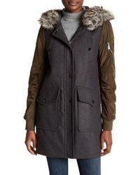 BCBGeneration | Mixed Media Faux Fur Trim Wool Coat | Lyst