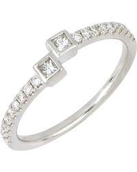 Bony Levy - 18k White Gold Princess Cut Diamond Cuff Ring - 0.28 Ctw - Lyst