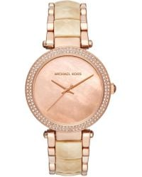 MICHAEL Michael Kors - Women's Parker Mother Of Pearl & Crystal Accented Bracelet Watch, 39mm - Lyst