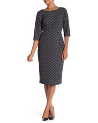 Connected Apparel - 3/4 Sleeve Textured Knit Dress - Lyst