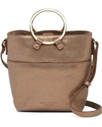ec65fa7a9363 Halston - Small Metallic Leather Crossbody Bucket Bag - Lyst