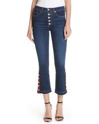 Veronica Beard - Button Hem Baby Boot Jeans (dark Sea) - Lyst